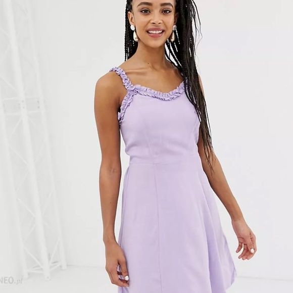 Lavender strappy slip dress with ruffle